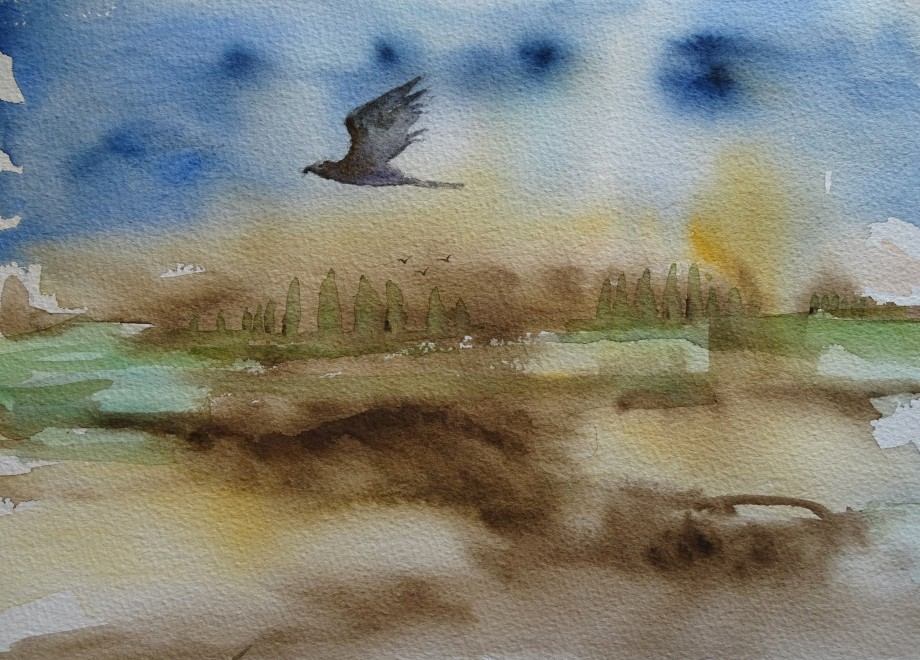 Flight-Watercolor-Aquarell-Nadia-Baumgart