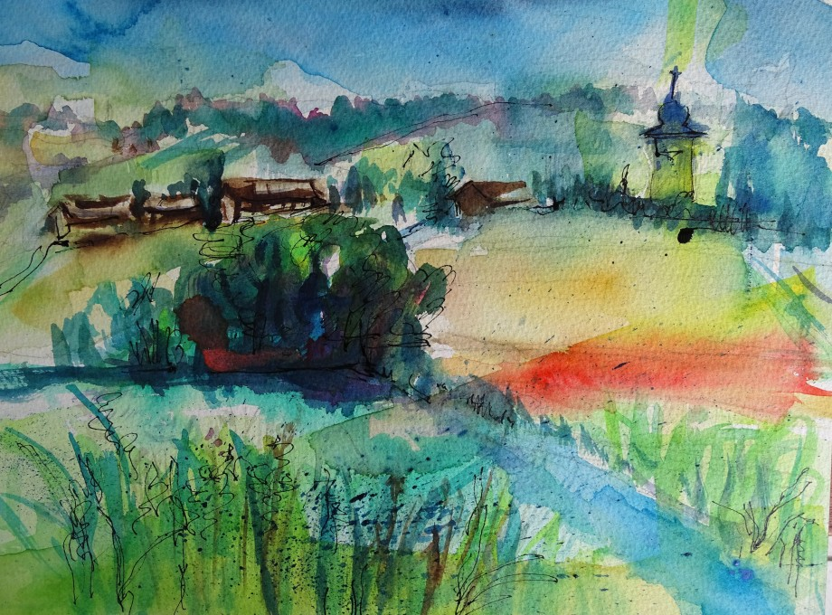 Bavarian-summer-watercolour-Aquarell-Bayern-Bad-Birnbach-Nadia-Baumgart