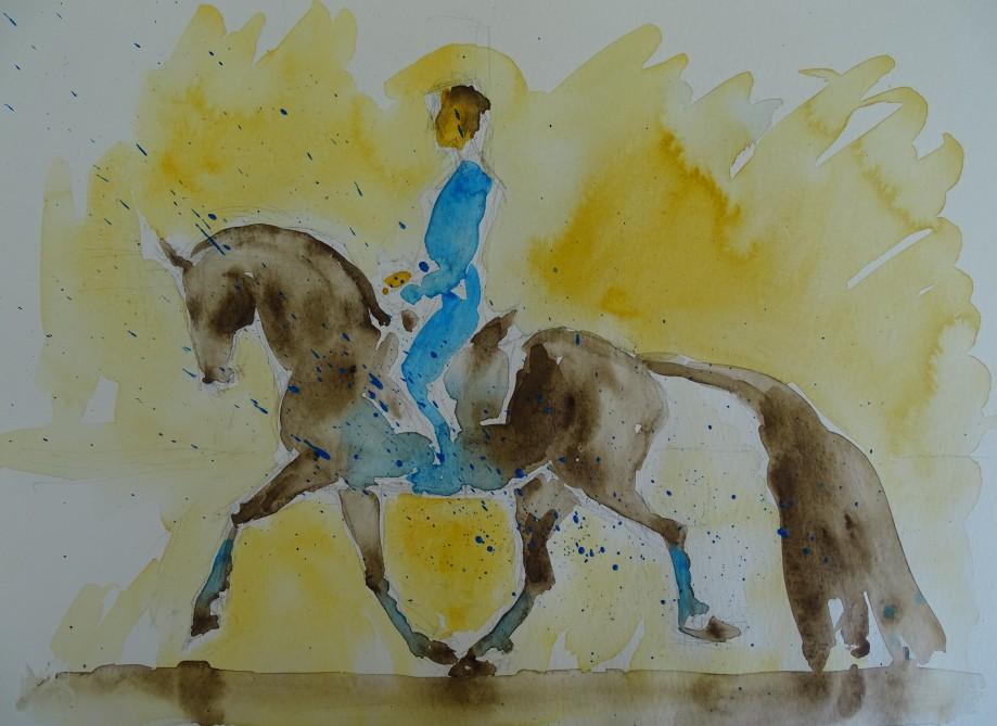 Aquarell-Pferd-Hohe-Schule-Nadia-Baumgart