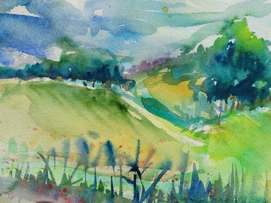 Landschaft-Bad-Birnbach-Aquarell-Nadia-Baumgart