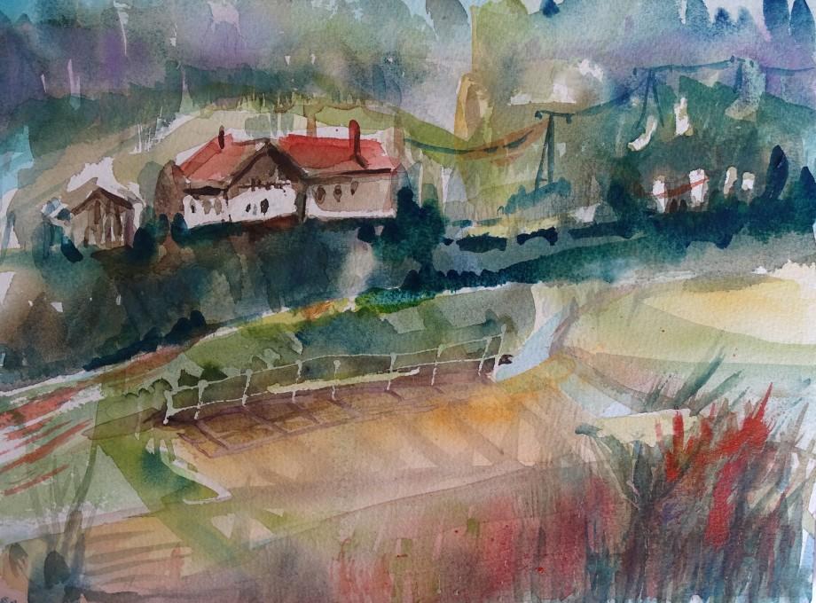 Niederbayerische-Landschaft-Aquarell-Nadia-Baumgart
