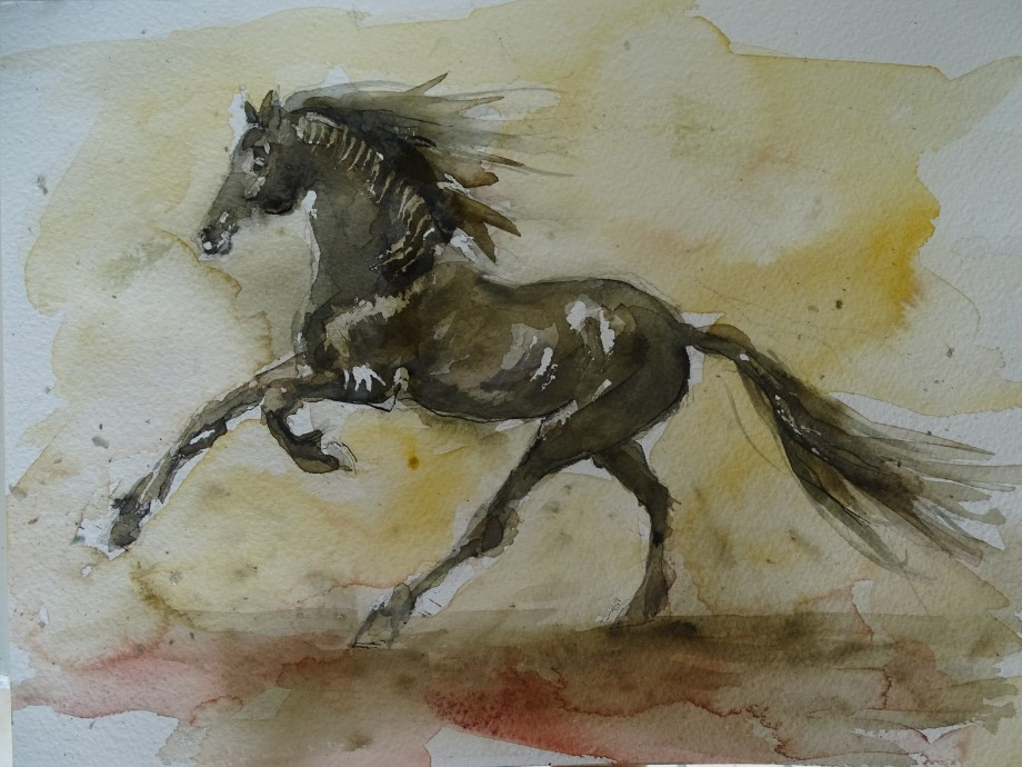 Energy-Horse-Pferd-Aquarell-Nadia-Baumgart