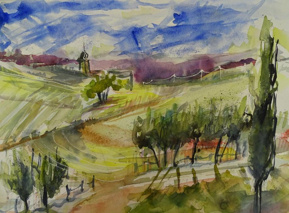 Landschaft-Niederbayern-Aquarell-Nadia-Baumgart-4