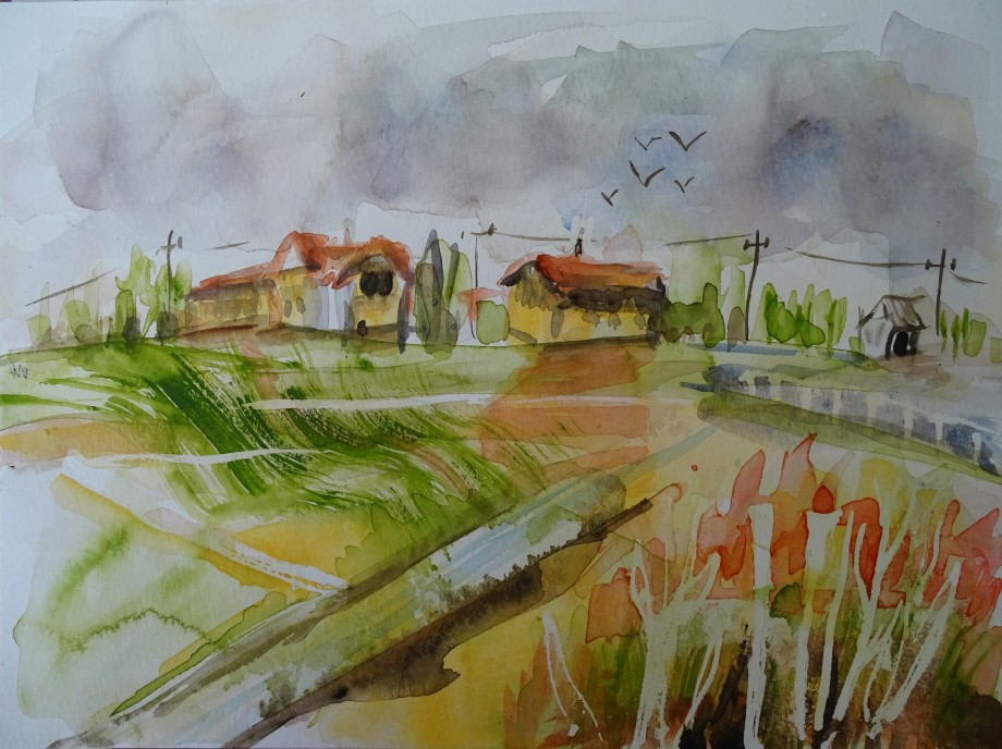 Paysage-bavarois-aquarelle-Nadia-Baumgart