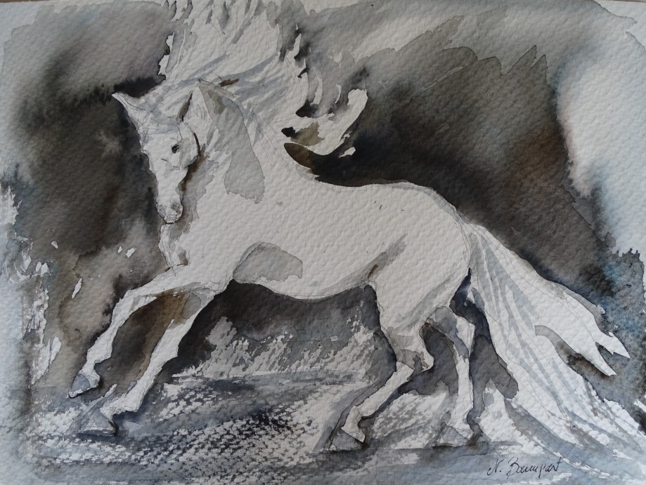 White-horse-watercolour-Aquarelle-Nadia-Baumgart