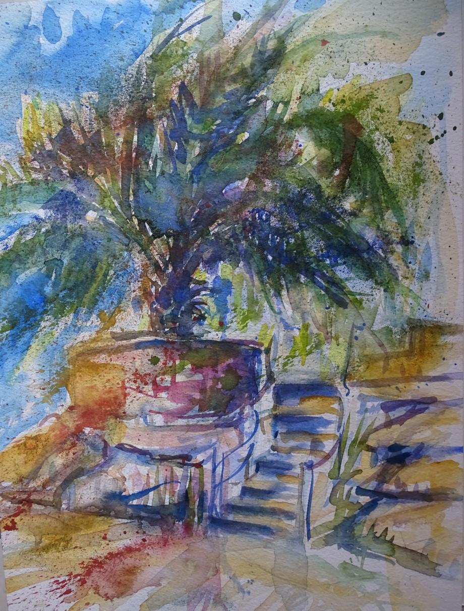 palme-im-wind-aquarell-nadia-baumgart