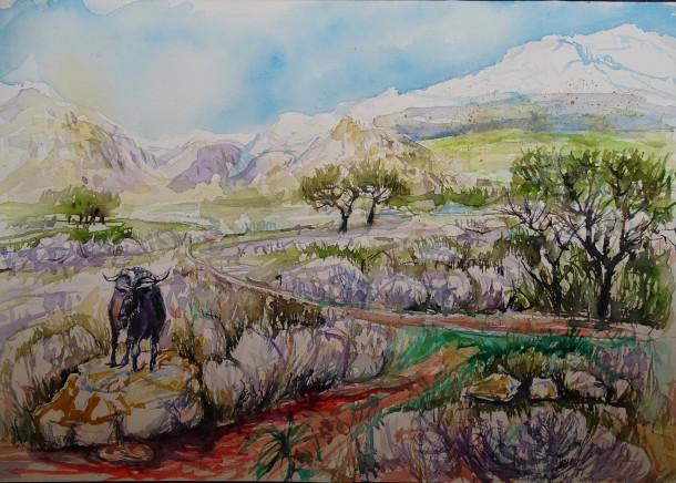 kretische-landschaft-aquarell-nadia-baumgart