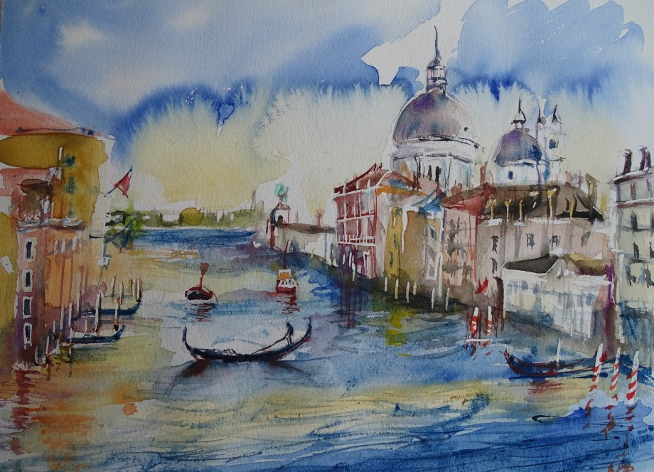 Venedig-Canal-Grande-Aquarell-Nadia-Baumgart