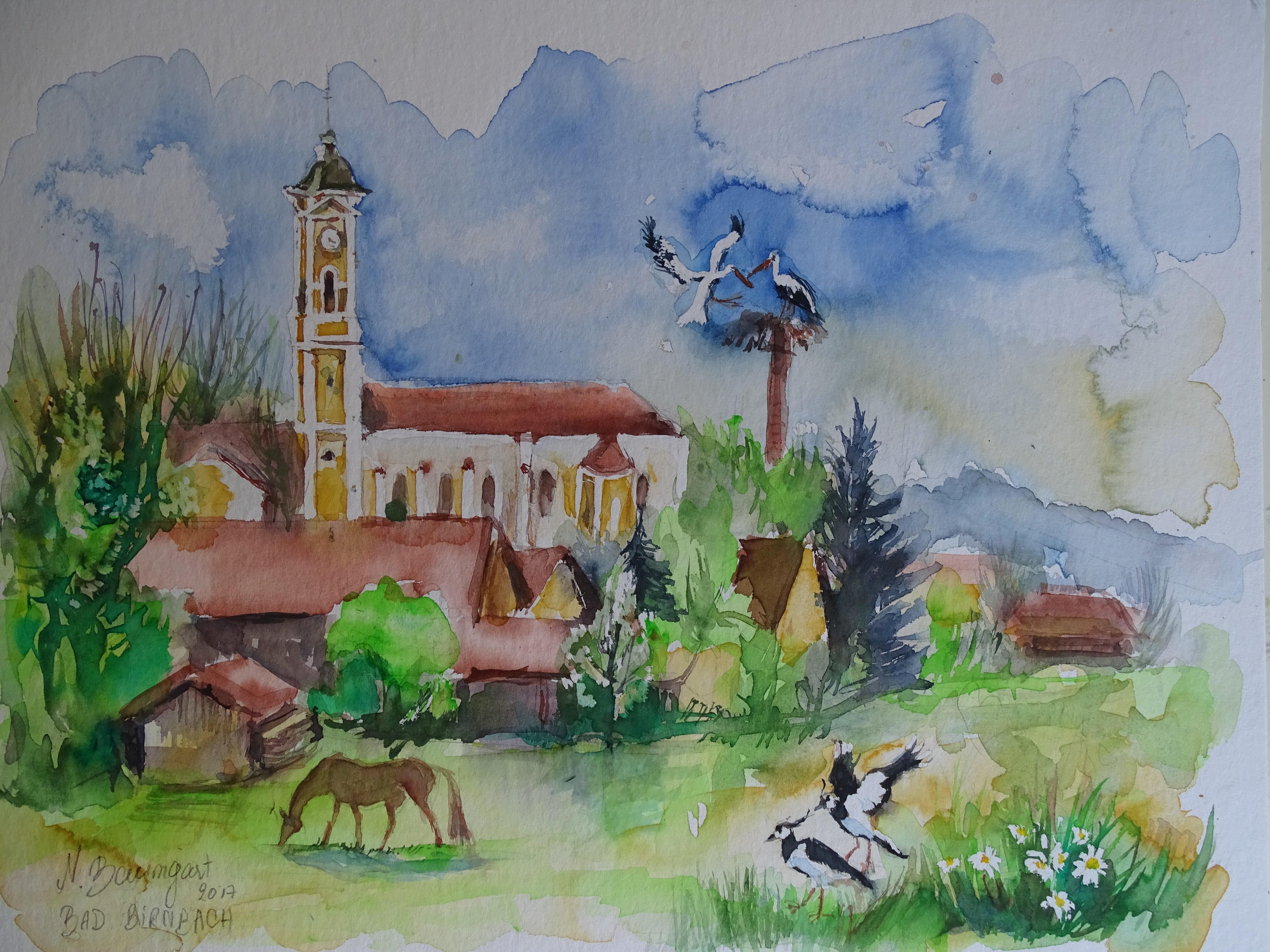 Aquarelle-Bad-Birnbach-Stoerche-Nadia-Baumgart