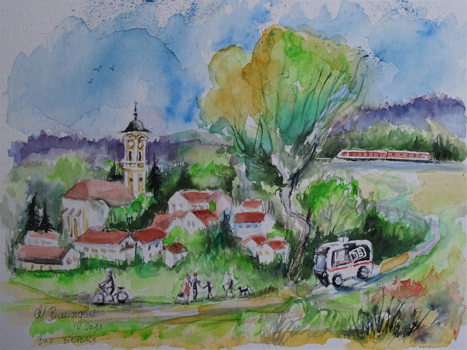 Autonomer-Bus-Bad Birnbach-Aquarelle-Nadia-Baumgart