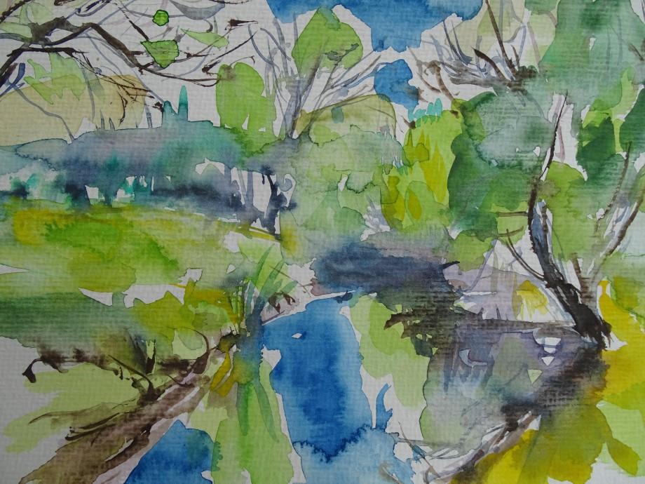 Flusslandschaft-Aquarelle-Nadia-Baumgart