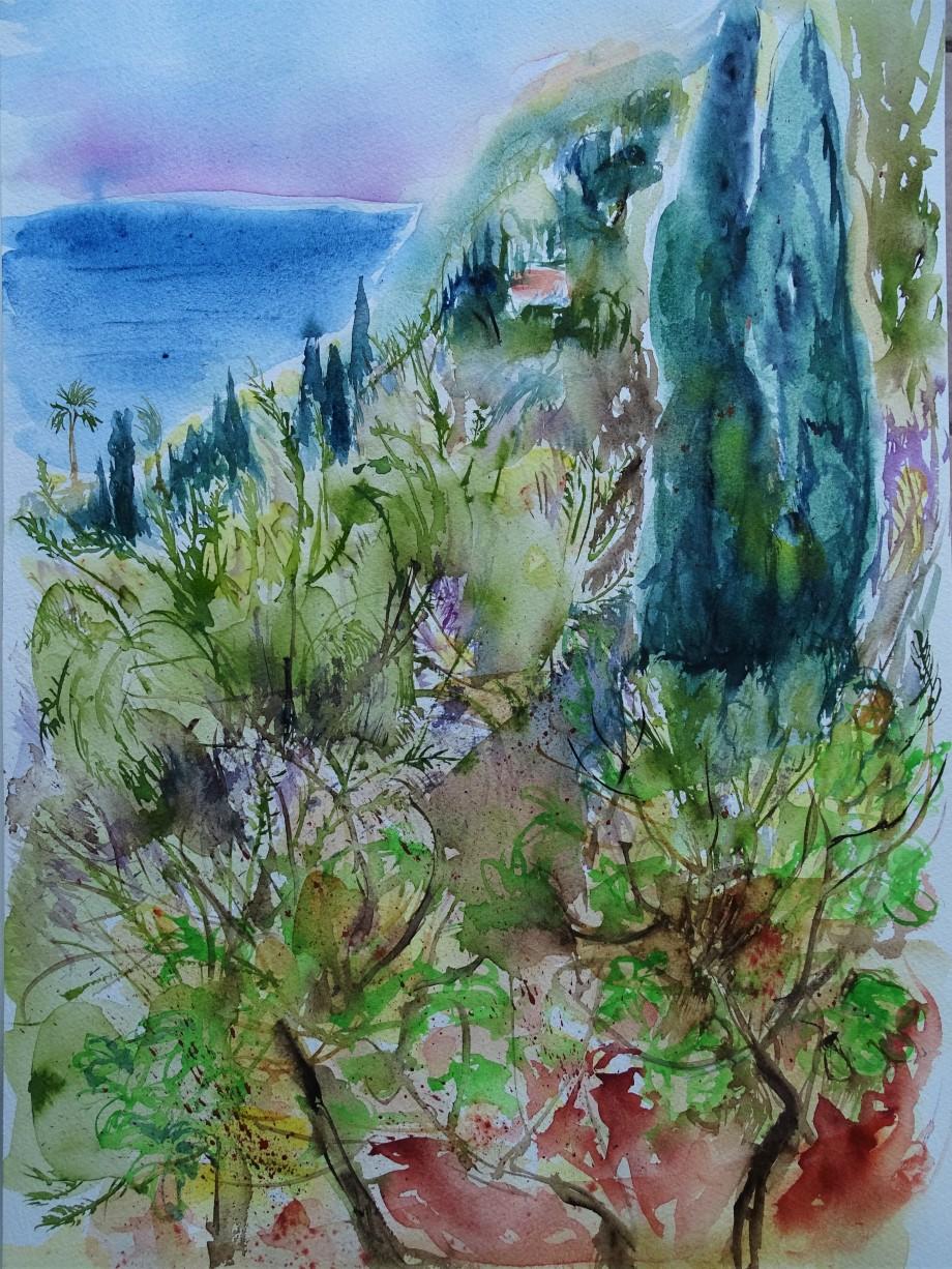 Mediterrane-Landschaft-Aquarelle-Nadia-Baumgart