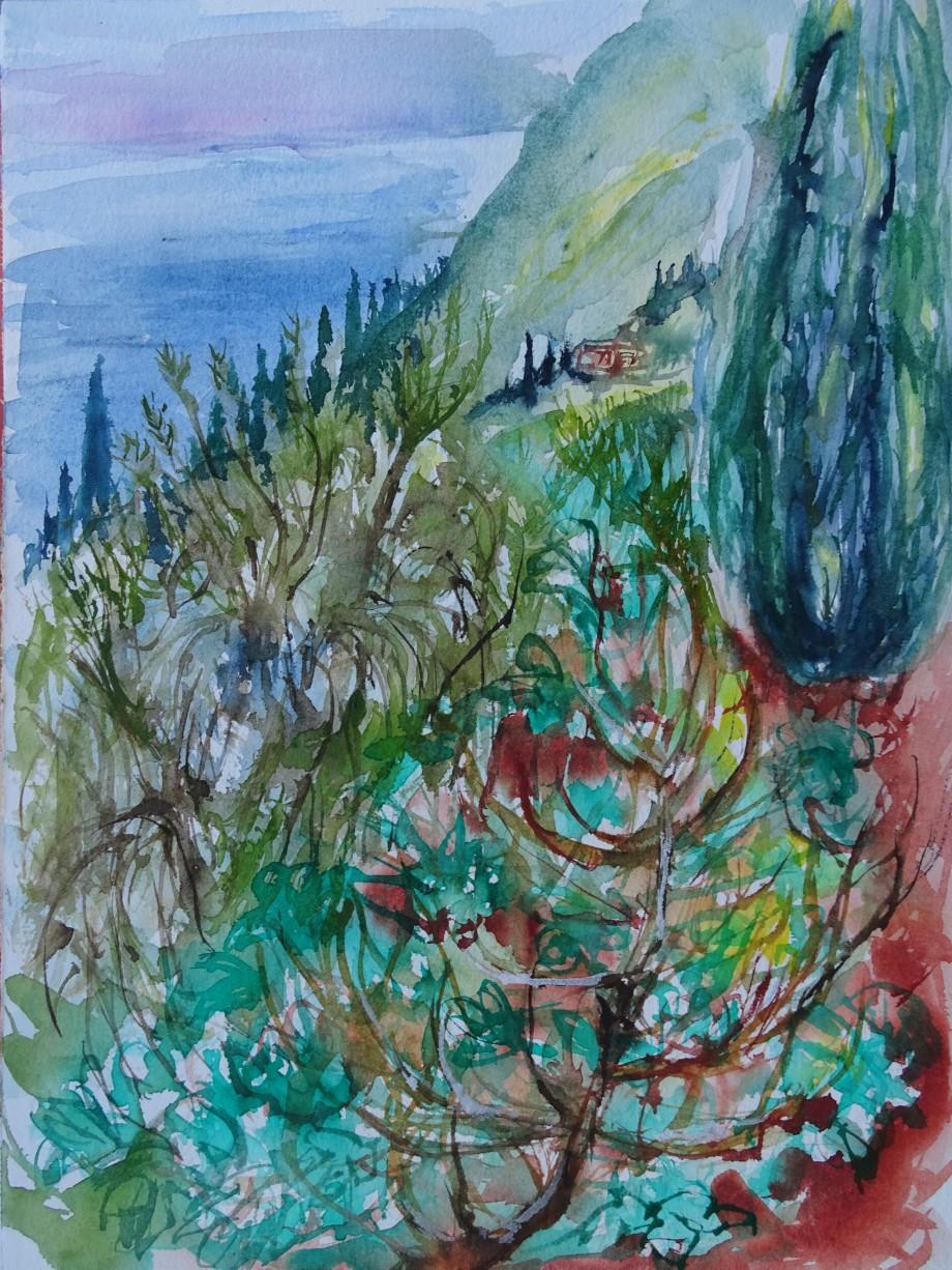 Mittelmeer-Landschaft-Aquarelle-Nadia-Baumgart