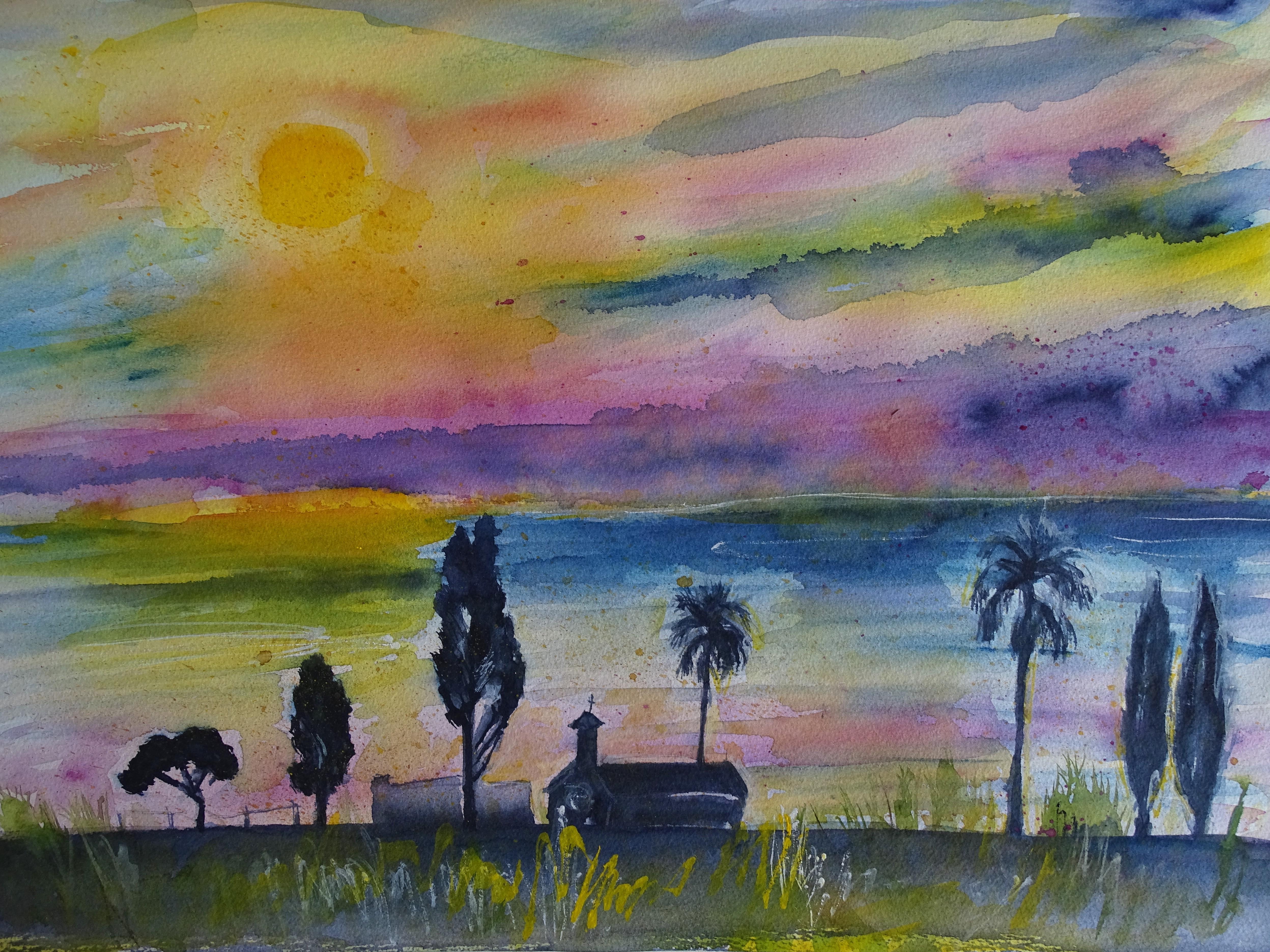 Sonnenaufgang-ueber-dem-Meer-Aquarelle-Nadia-Baumgart