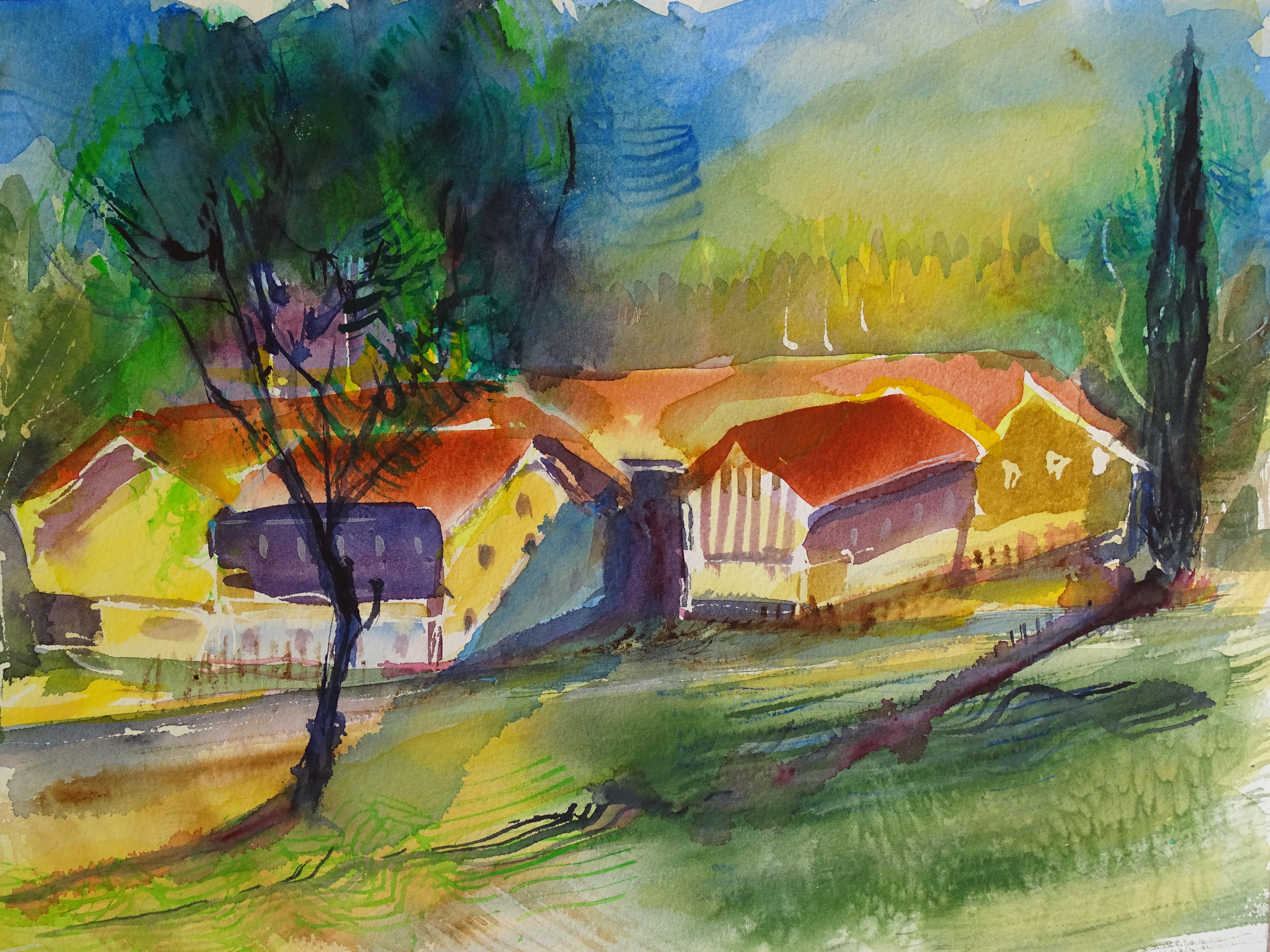 Bauernhof-Gewitterstimmung-Aquarelle-Nadia-Baumgart