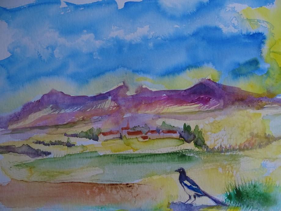 Landschaft-mit-Elster-Aquarelle-Nadia-Baumgart