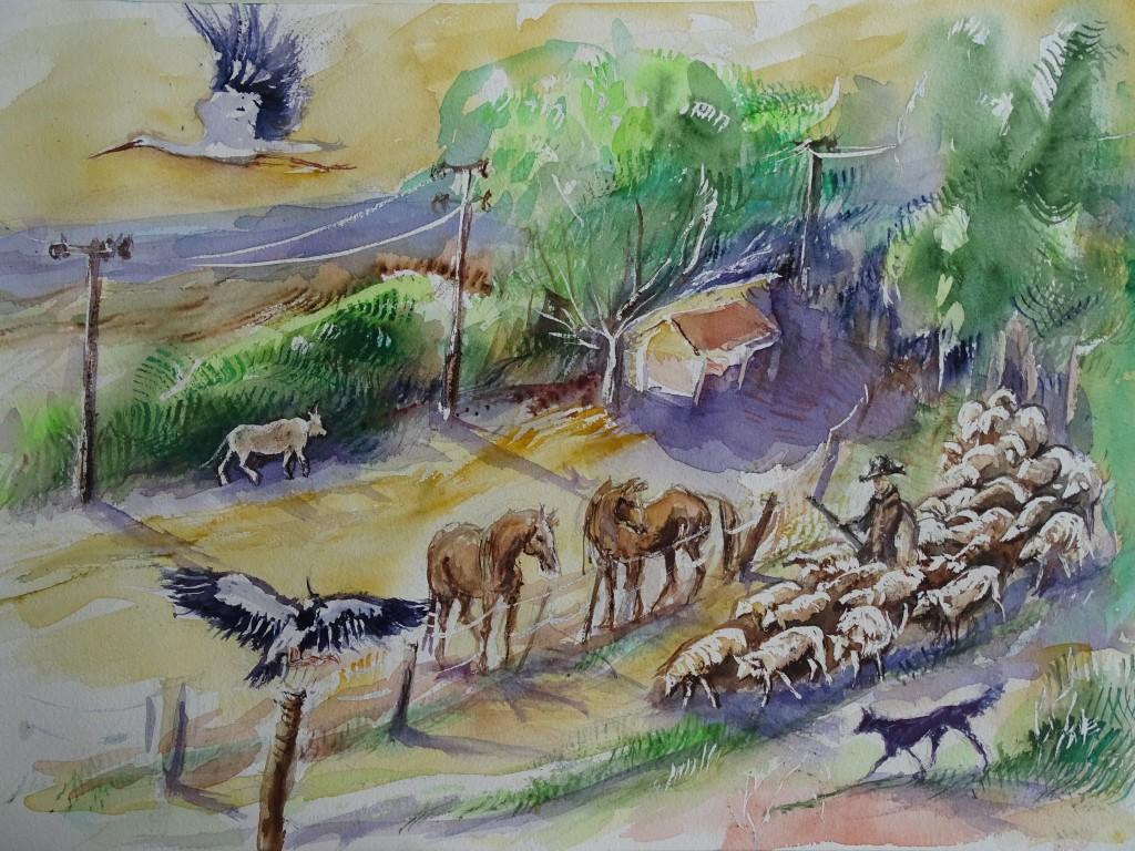 Landschaft-mit-Tieren-Aquarelle-Nadia-Baumgart
