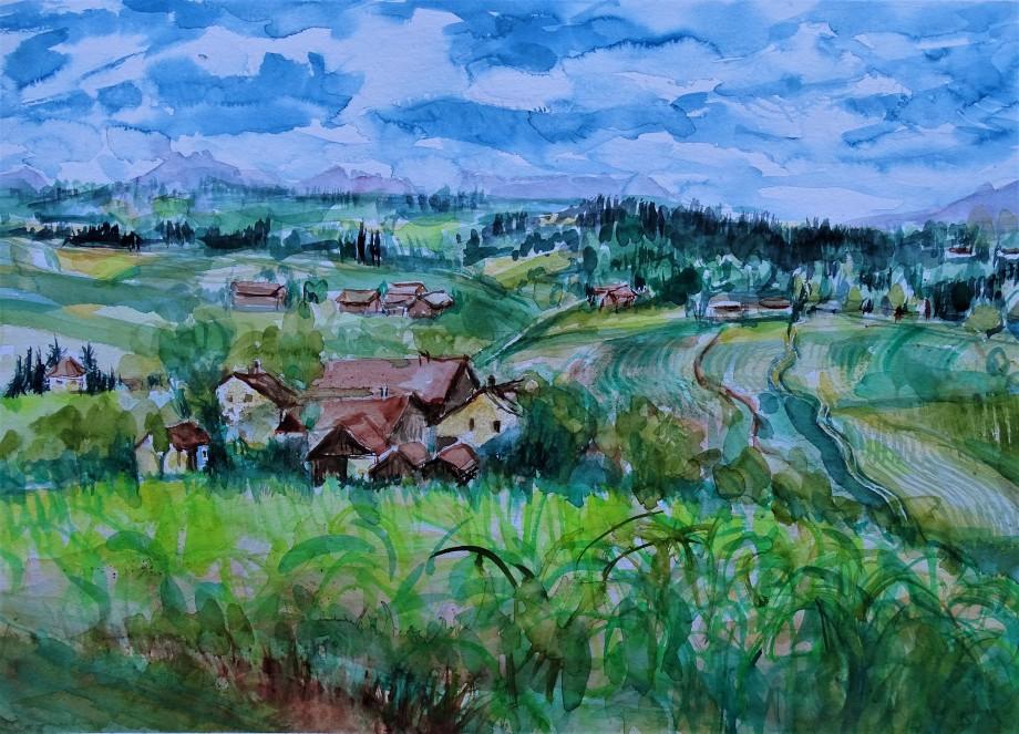Rottal-Steinhof-Bayerische-Landschaft-Aquarelle-Nadia-Baumgart