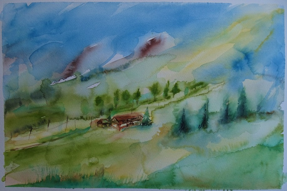 Bayerische-Landschaft-Aquarelle-Nadia-Baumgart