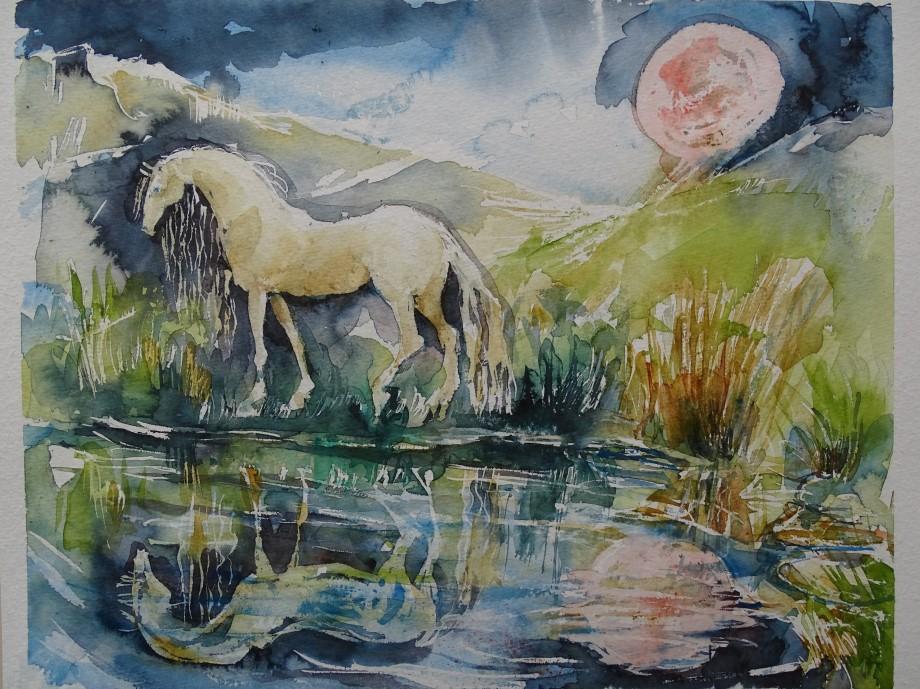 Roter-Mond-Aquarelle-Nadia-Baumgart