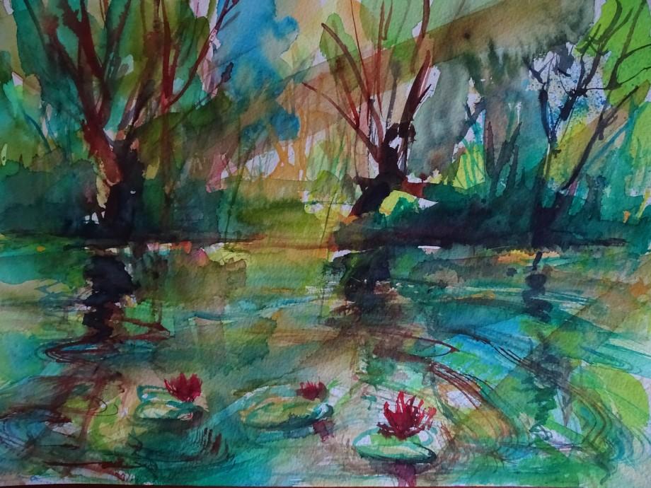 Teich-Aquarelle-Nadia-Baumgart