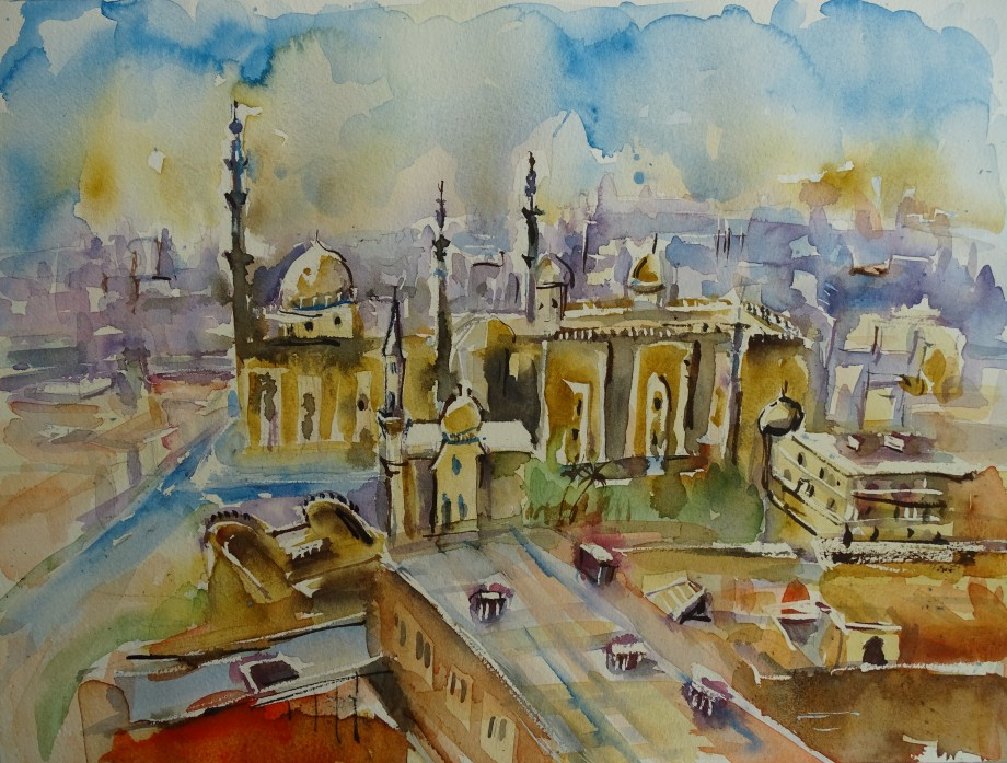 Cairo-watercolour-Nadia-Baumgart