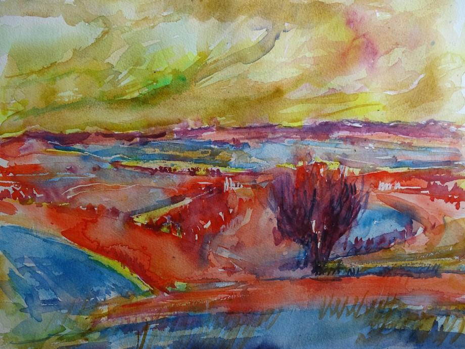 Paysage-en-rouge-Aquarelle-Nadia-Baumgart