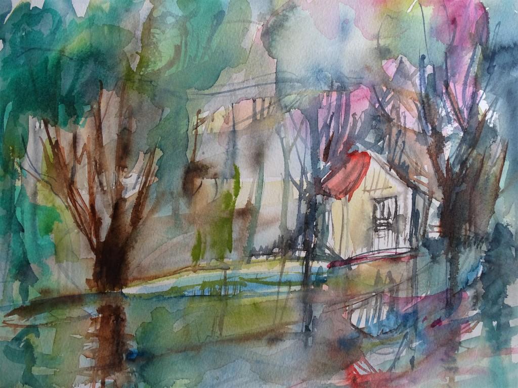 Regen-Aquarell-Nadia-Baumgart