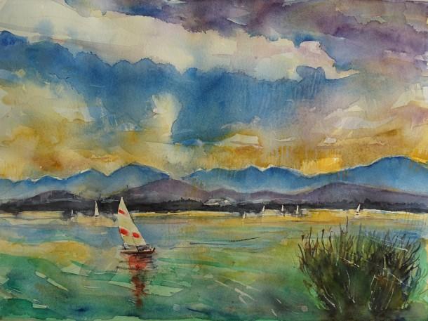 Chiemsee-Aquarelle-Nadia-Baumgart