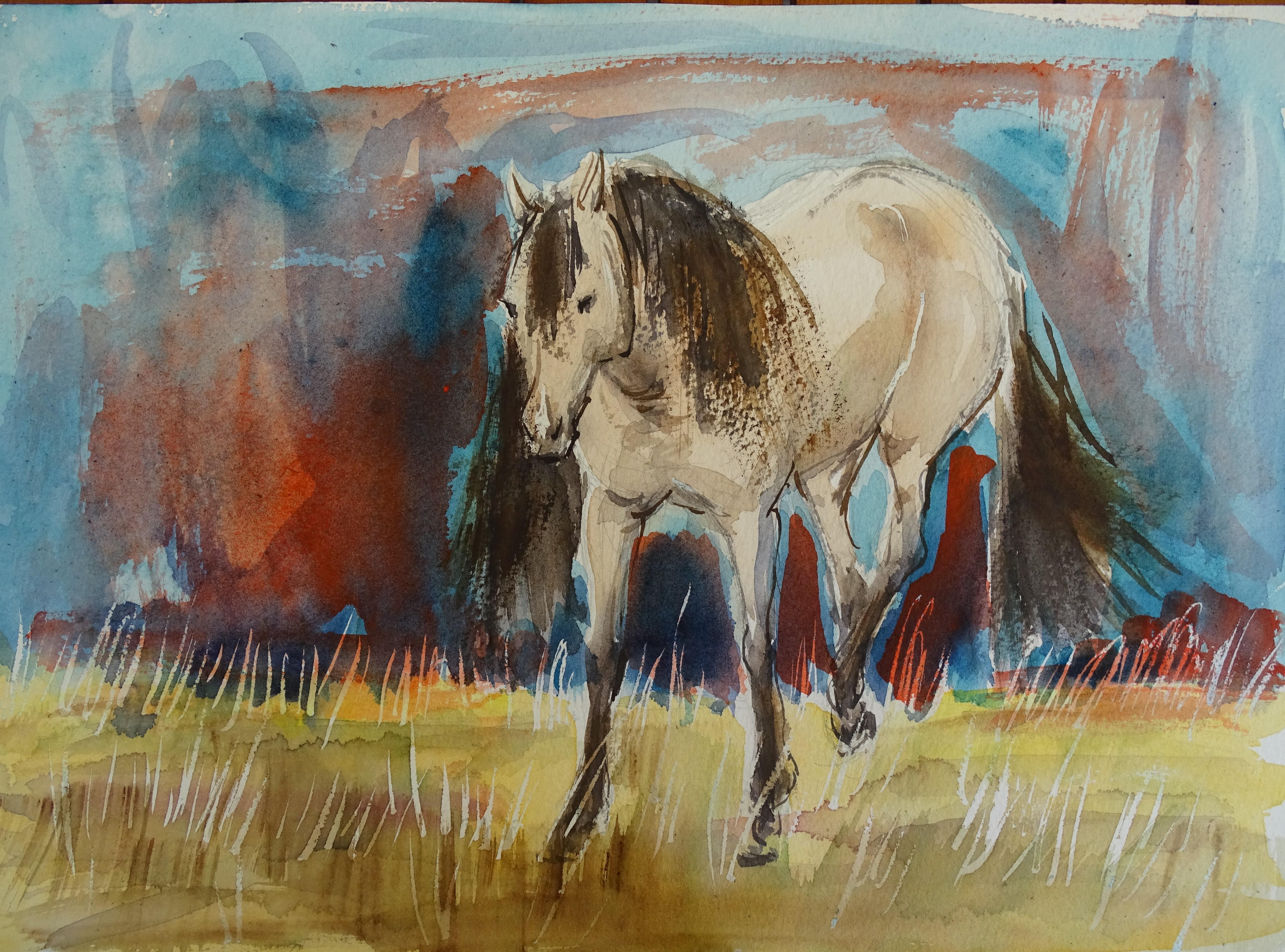 Mustang-Aquarelle-Nadia-Baumgart
