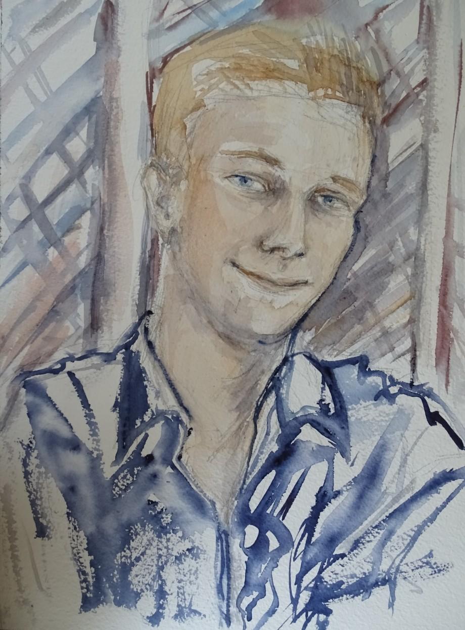 Portrait-junger-Mann-Aquarelle-Nadia-Baumgart