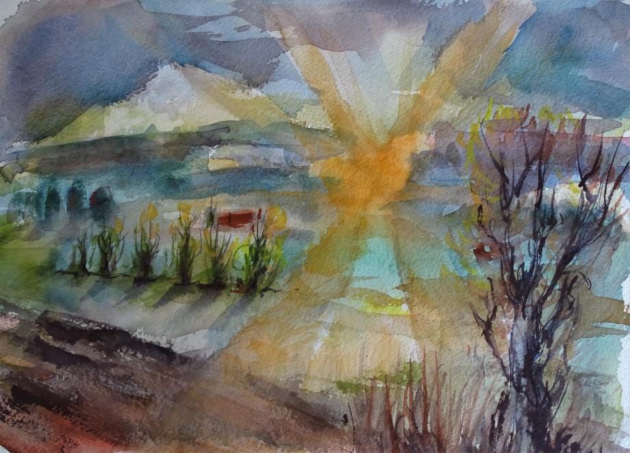 2-Sonnenaufgang-ueber-dem-Rottal-aquarell-Nadia-Baumgart