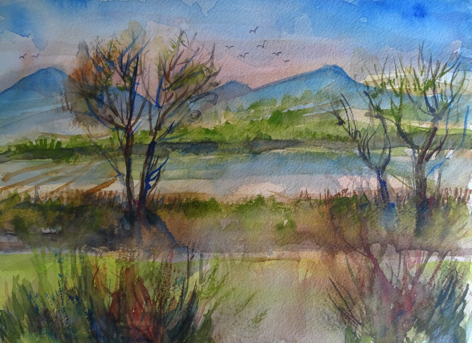 Landschaft-Aquarelle-Nadia-Baumgart-Chiemsee
