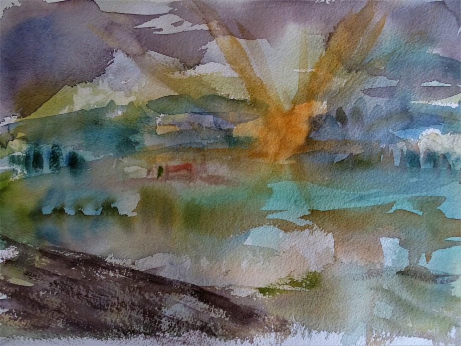 Sonnenaufgang-ueber-dem-Rottal-aquarell-Nadia-Baumgart