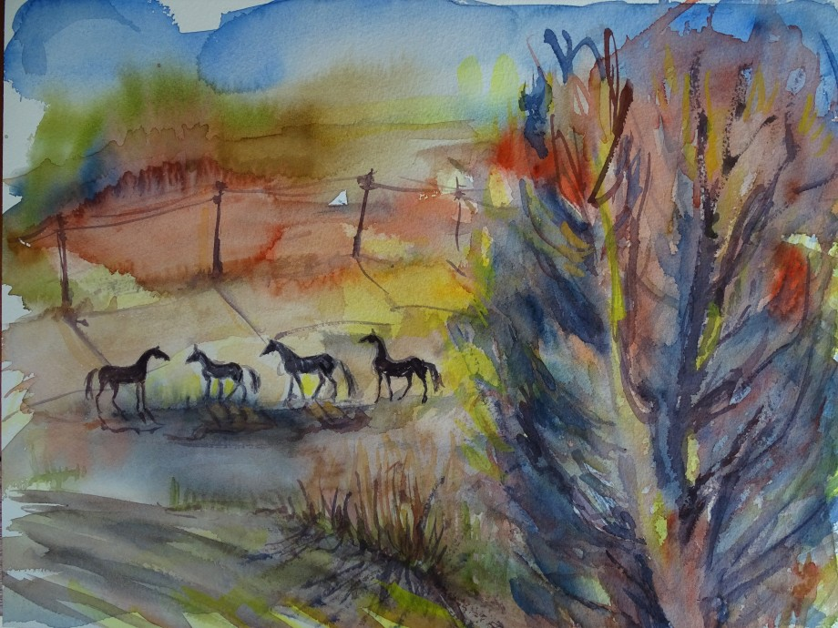 vier-Pferde-Aquarelle-Nadia-Baumgart