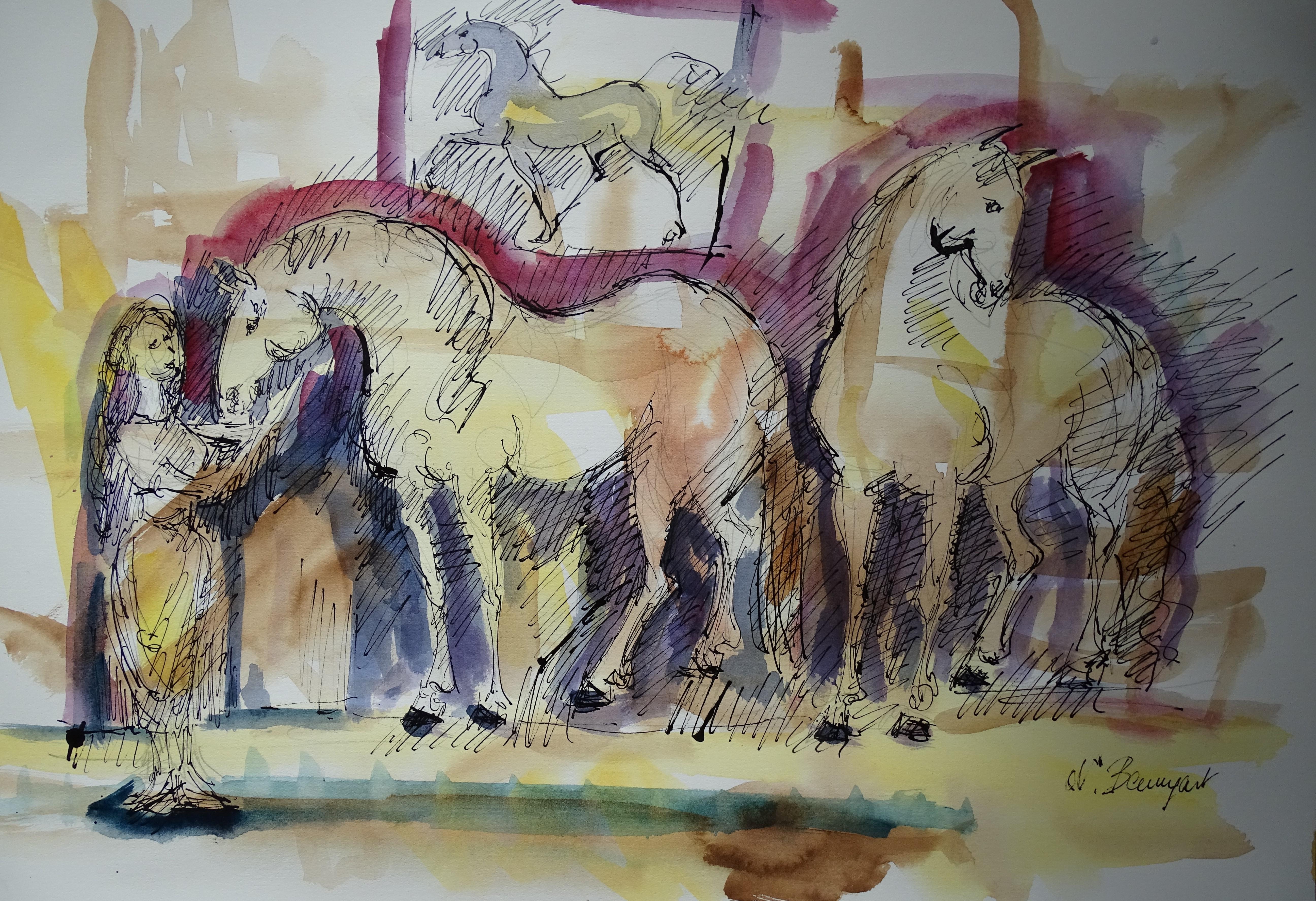 Zeichnung-Pferde-Nadia-Baumgart