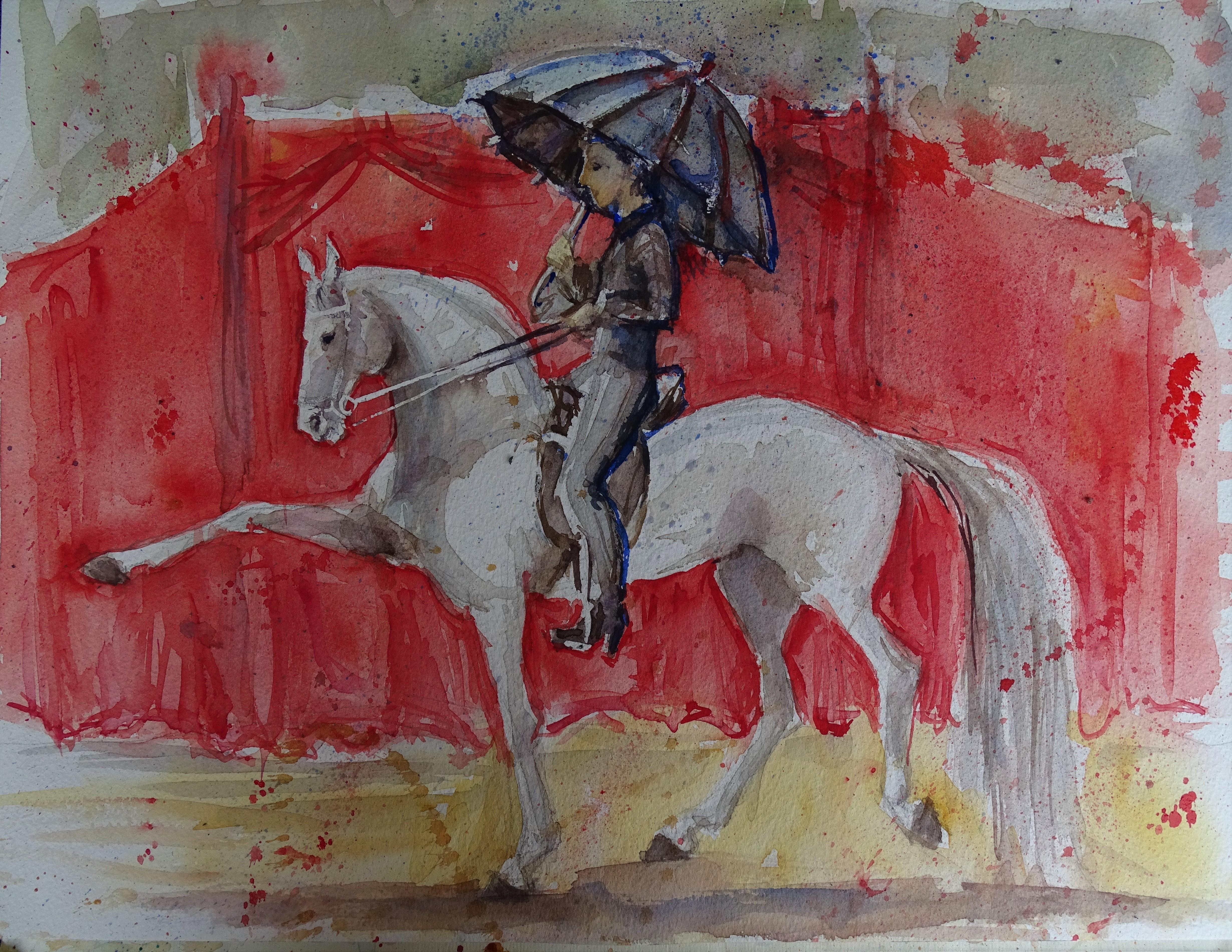 Pferd-Hohe-Schule-Aquarell-nadia-Baumgart