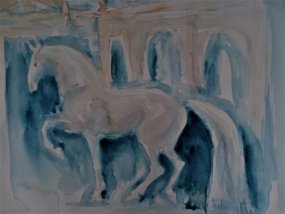 Blaues-Pferd-Aquarelle-Malerei-Nadia-Baumgart