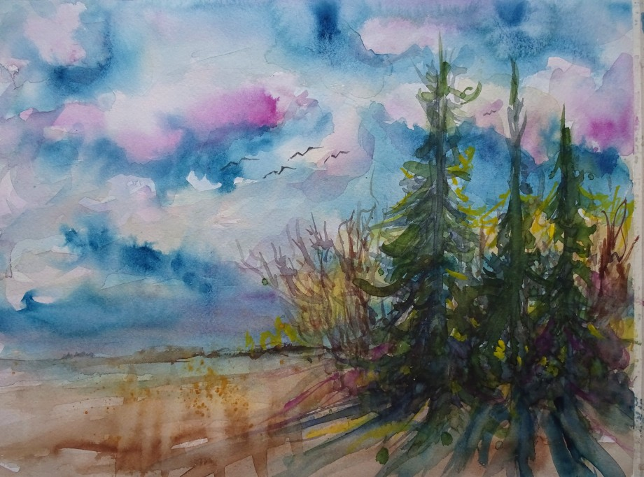 Landschaft-3-Aquarelle-Malerei-Nadia-Baumgart