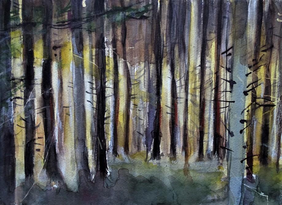 Waldlicht-Aquarelle-Malerei-Nadia-Baumgart