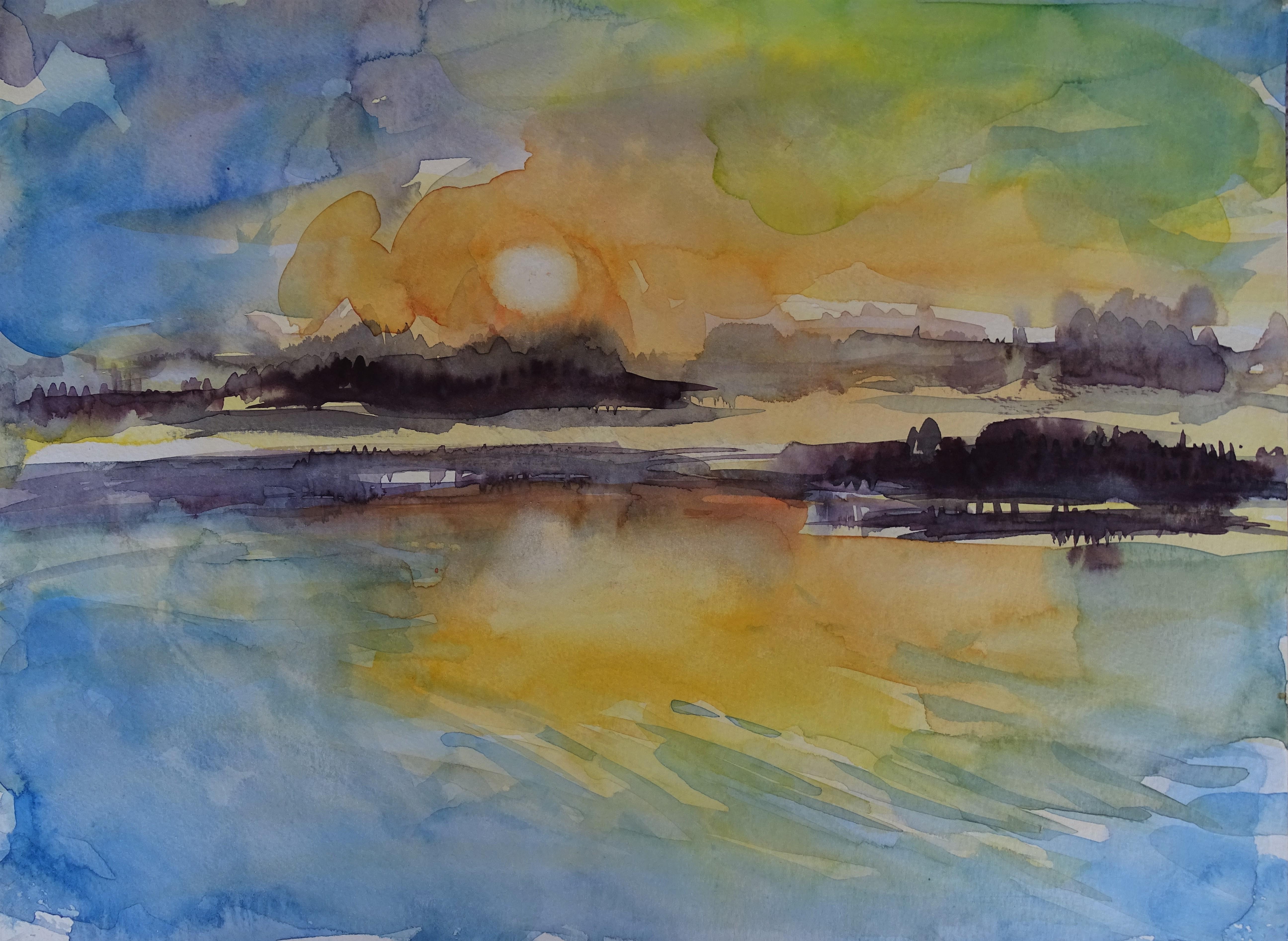 Sonnenuntergang-Sunset-Inn-Malerei-nadia-baumgart