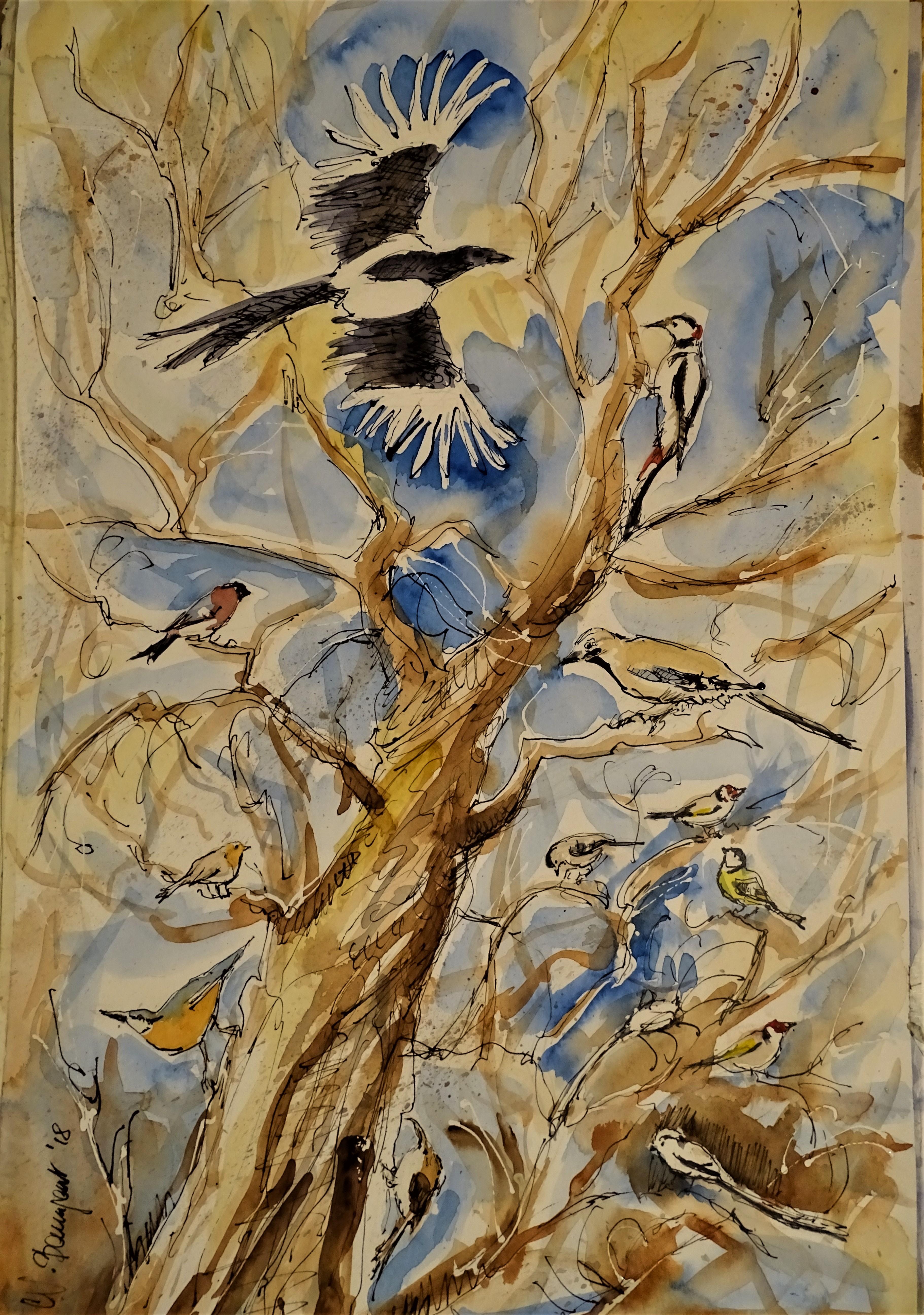 Vogelbaum-Aquarelle-Nadia-Baumgart