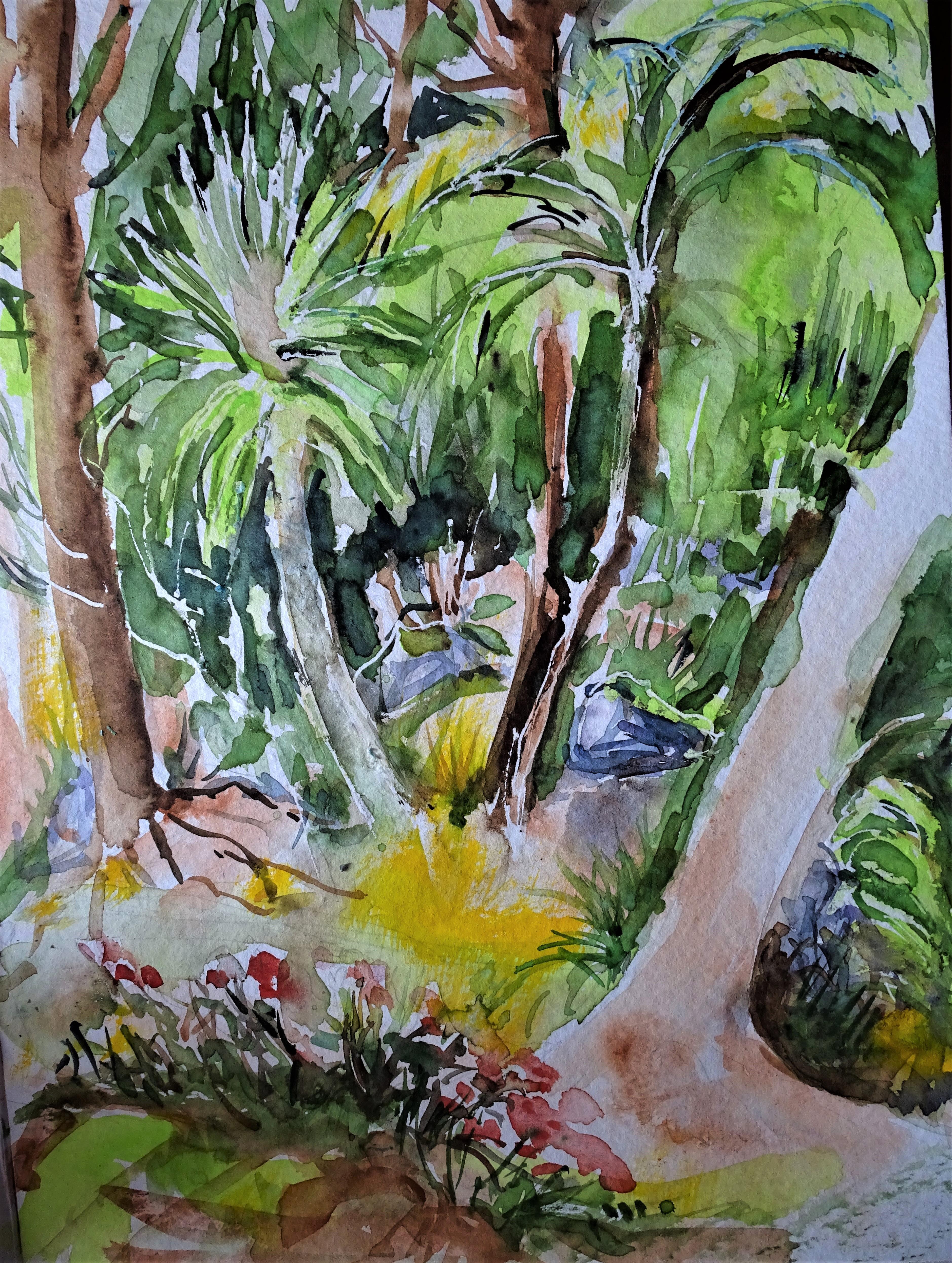 Azoren-Garten-aquarell-Nadia-Baumgart