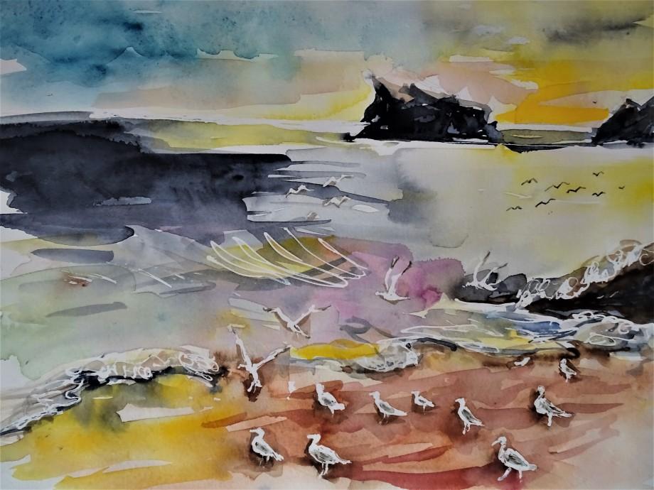 Azoren-Sao-Miguel-Strand-Aquarell-Nadia-Baumgart