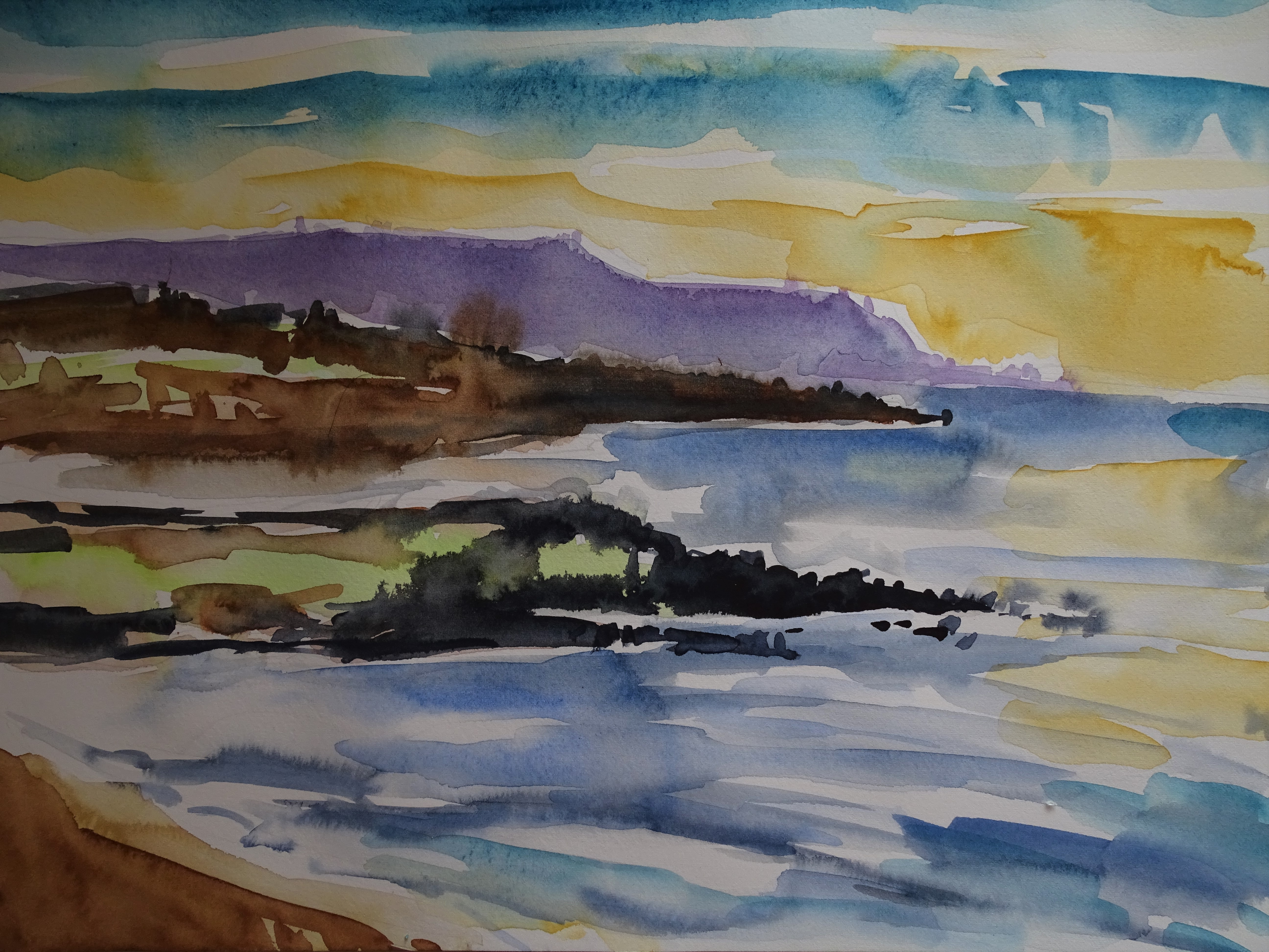 Azoren-Sonnenaufgang-Sao-Miguel-Aquarell-Nadia-Baumgart