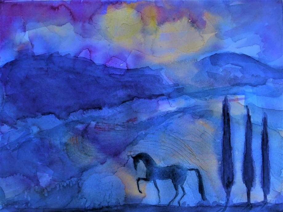Das-blaue-Pferd-Aquarell-Nadia-Baumgart