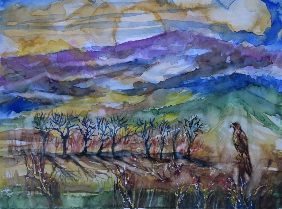 Landschaft-mit-Bussard-Aquarelle-Nadia-Baumgart