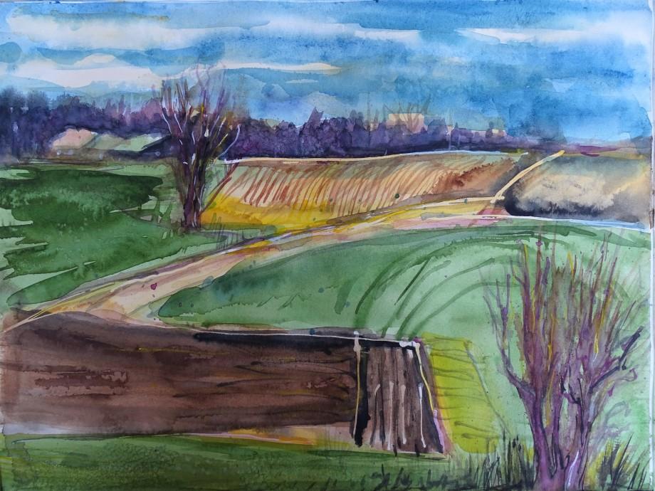 Rottaler-Landschaft-2-Aquarell-Nadia-Baumgart