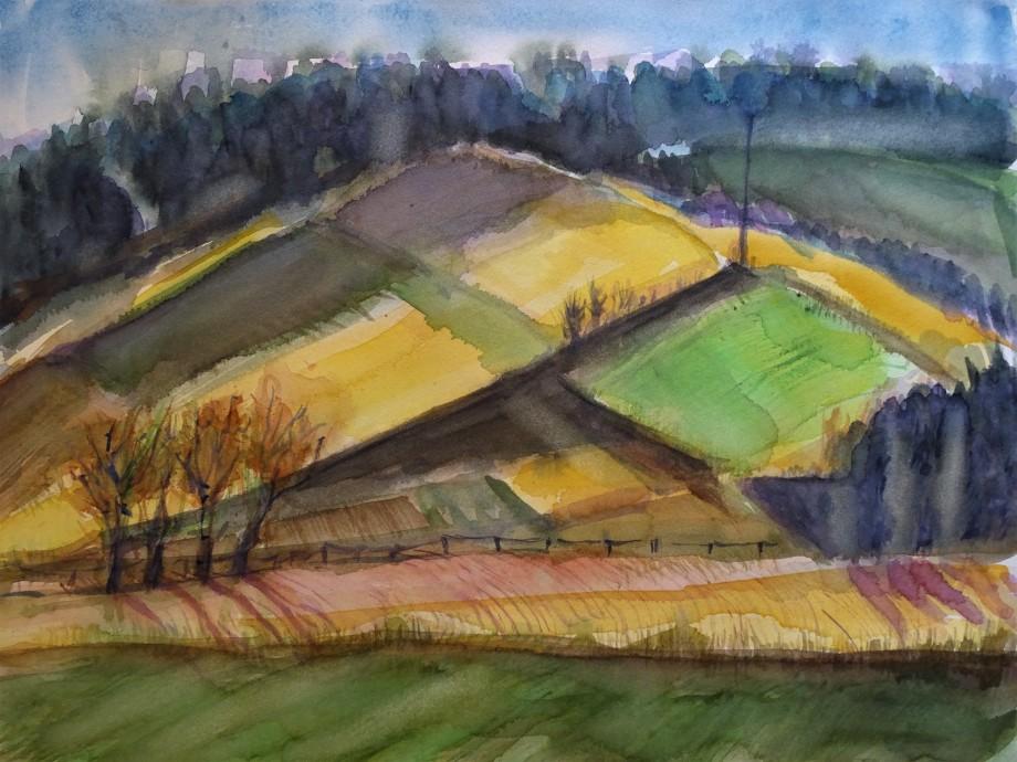 Rottaler-Landschaft-Aquarell-Nadia-Baumgart