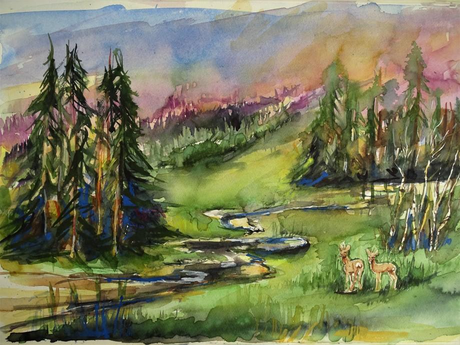 Bayerischer-Wald-Aquarelle-Nadia-Baumgart